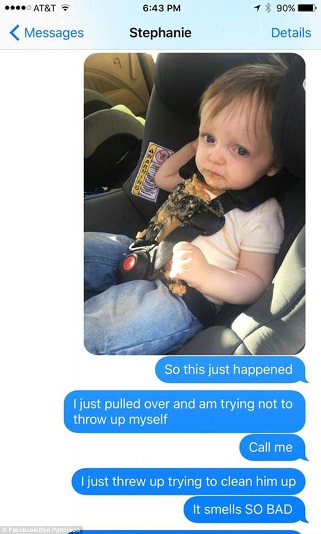 أب يشعر بالقرف من قيء طفله
