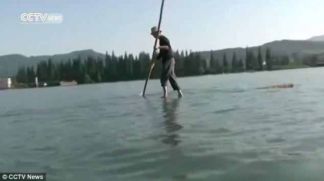 عصا الخيرزان كطوافة لعبور النهر