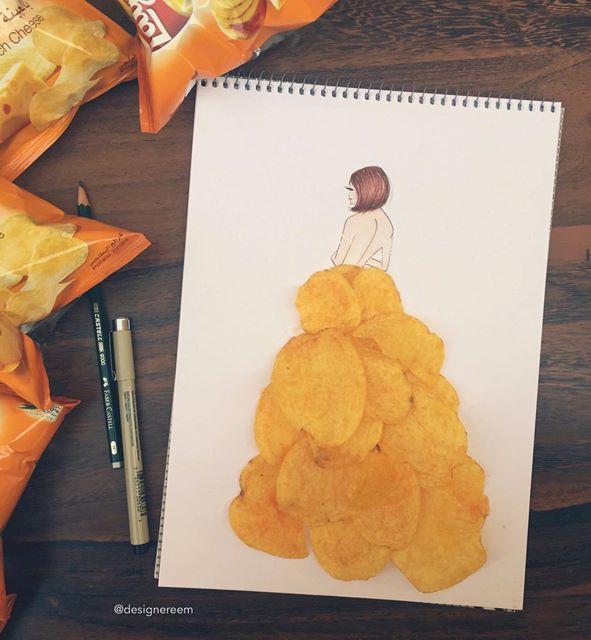 الرسم بالطعام والورود