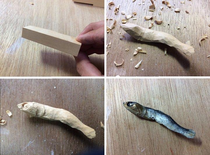 منحوتات خشبية طعام