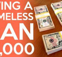 إعطاء 3000 $ لرجل مشرد