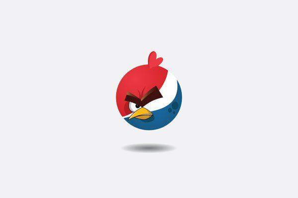دمج شعارات أشهر الشركات مع شخصيات Angry Birds