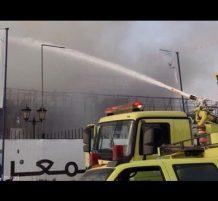 حريق وكالة للسيارات في الرياض