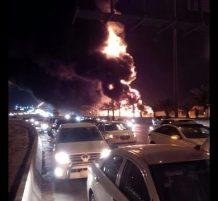 حريق شاحنة وقود في الرياض
