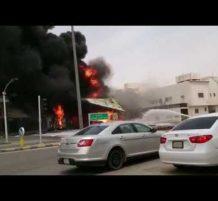حريق محطة وقود في الرياض