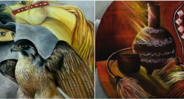 ابداع خالد عسيري في صنع لوحات تشكيلية بطابع تراثي