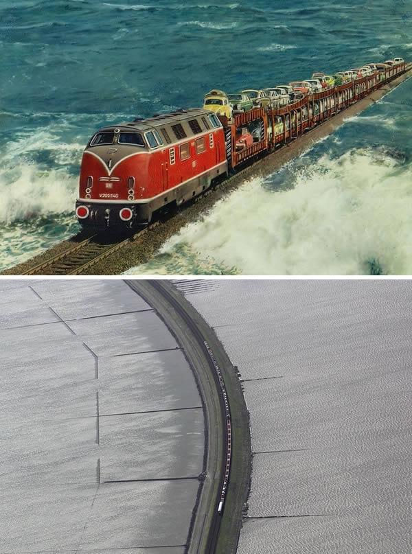 قطار يمر على جسر مرتفع