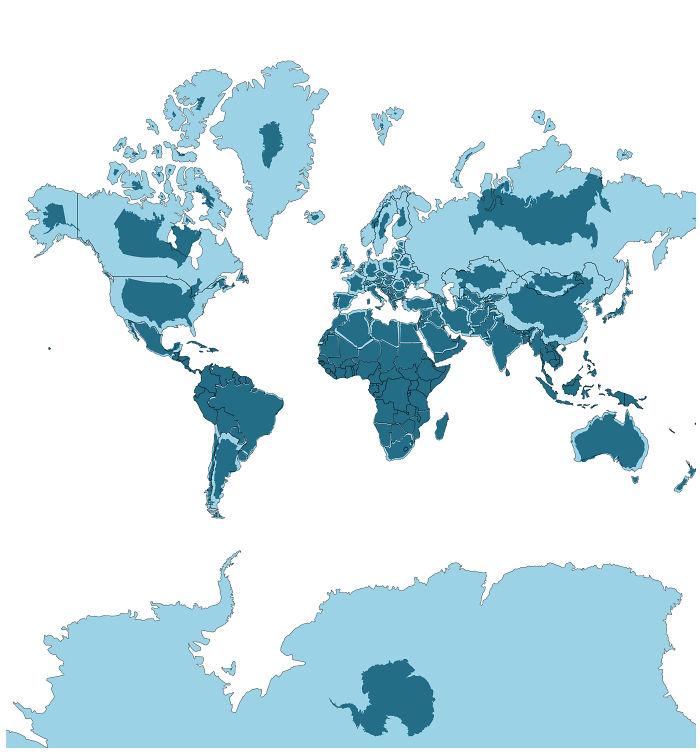 الحجم الفعلي للدول على خريطة العالم