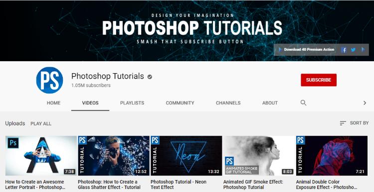 قناة photoshop tutorials