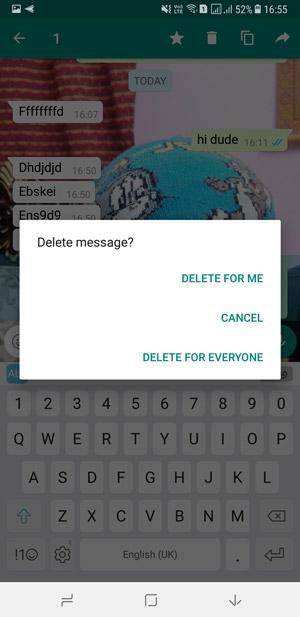 حذف رسالة تطبيق واتساب